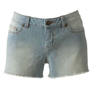 LC Lauren Conrad Striped Denim Shorts